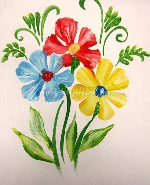 Цветы гуашью для начинающих поэтапно 009