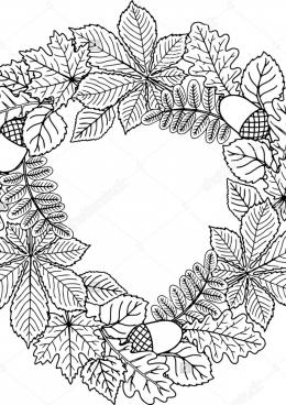 Черно белые картинки на тему осень для детей (2)