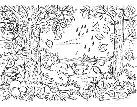Черно белые картинки на тему осень для детей (22)