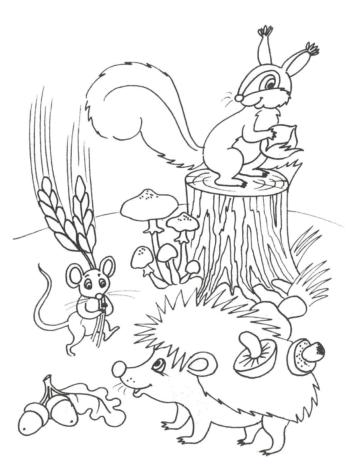 Картинка черно-белая осень для детей