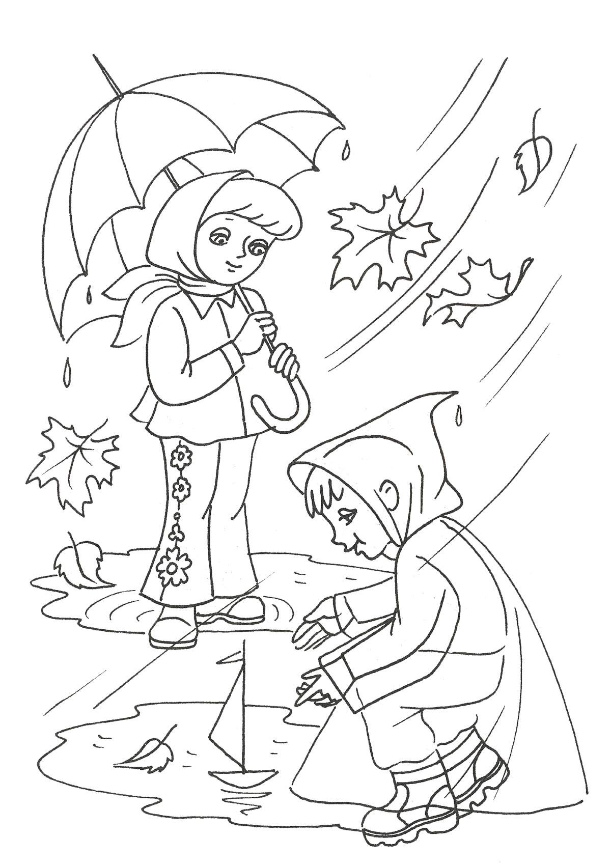 Черно белые картинки на тему осень для детей (24)