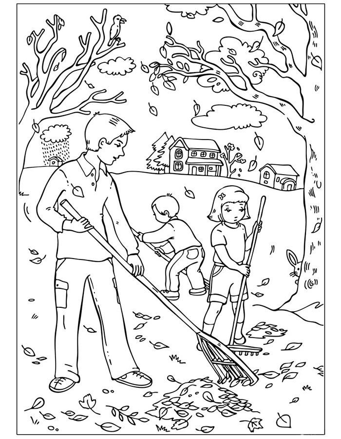 Черно белые картинки на тему осень для детей (27)