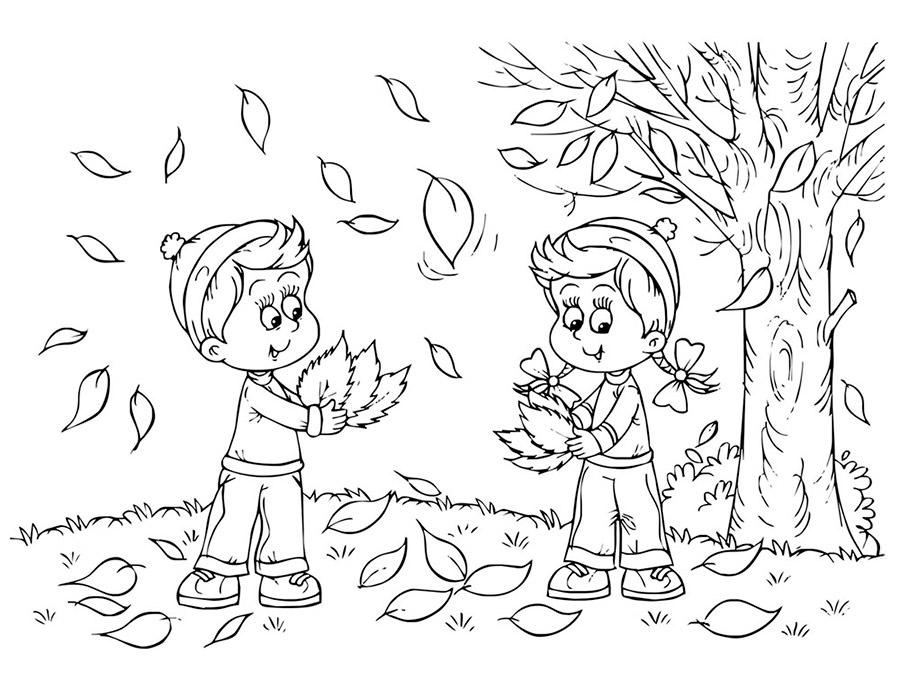 Черно белые картинки на тему осень для детей (29)