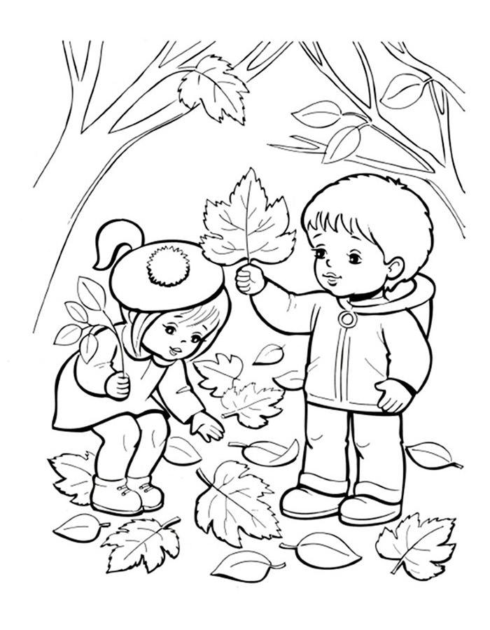 Черно белые картинки на тему осень для детей (3)