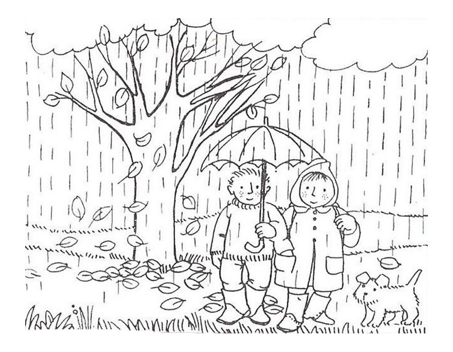 Черно белые картинки на тему осень для детей (31)