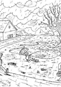 Черно белые картинки на тему осень для детей (4)