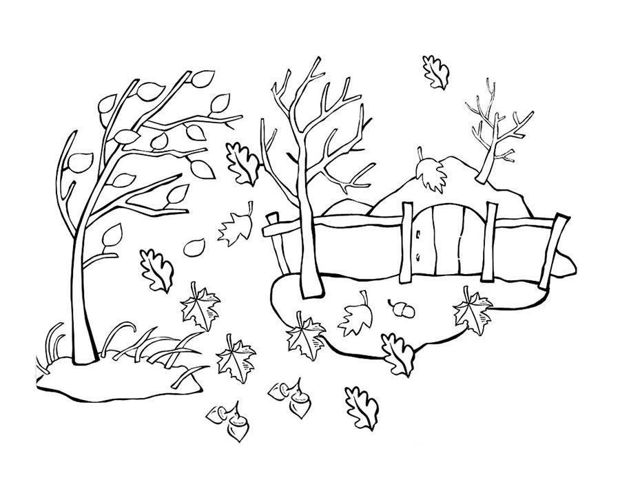 Черно белые картинки на тему осень для детей (5)