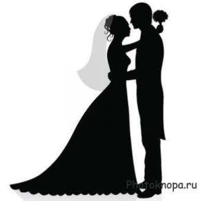 Черно белый рисунок жених и невеста 001