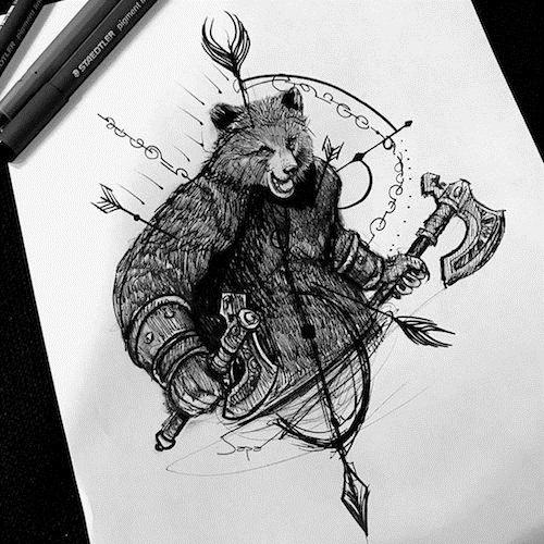 Эскиз тату медведь треш полька 019