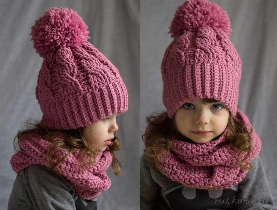 вязаная шапочка для девочки своими руками 019