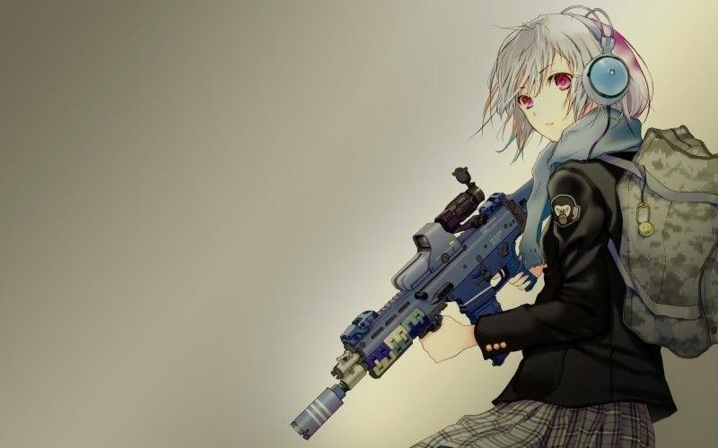 Арт аниме девушки с оружием 007