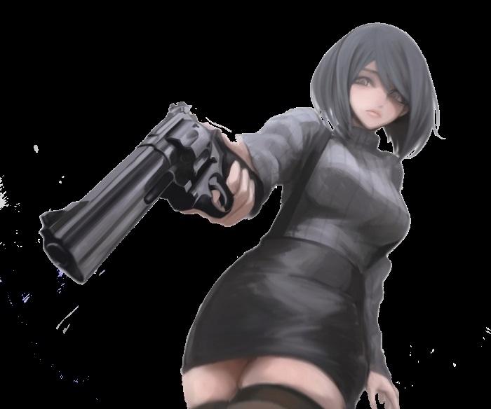 Арт аниме девушки с оружием 009