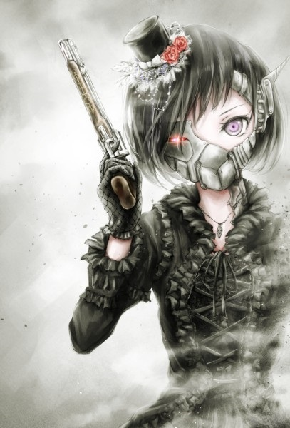 Арт аниме девушки с оружием 010