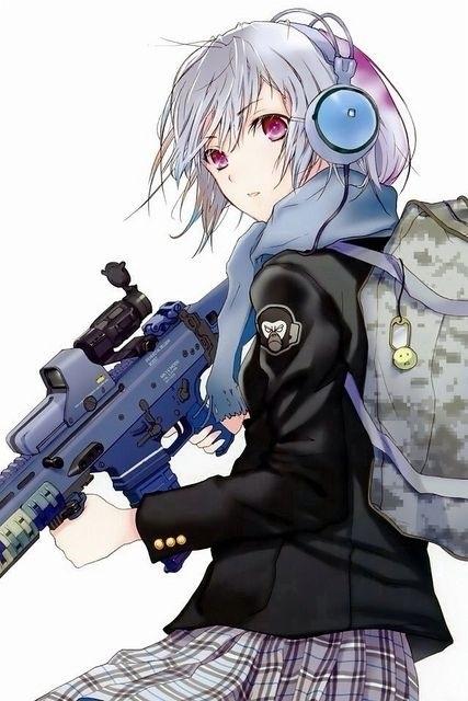 Арт аниме девушки с оружием 011