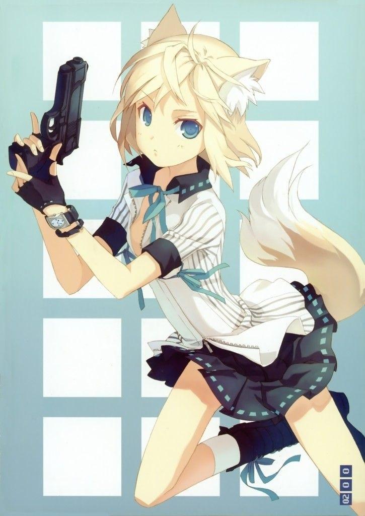 Арт аниме девушки с оружием 016