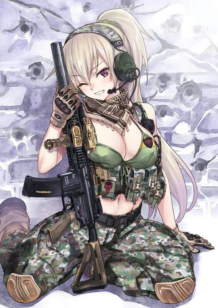 Арт аниме девушки с оружием 022