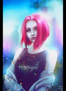 Арт девушка с сиреневыми волосами 015