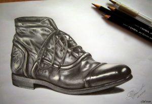 Ботинок рисунки карандашами 022