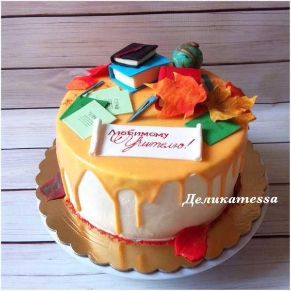 Вкусные торты на день учителя из мастики002