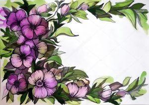 Графические цветы рисунки 014