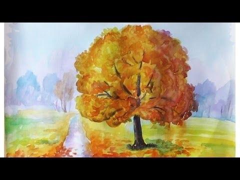 Золотая осень рисунки акварелью 001