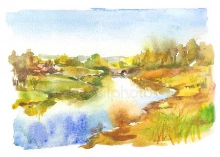 Золотая осень рисунки акварелью 002
