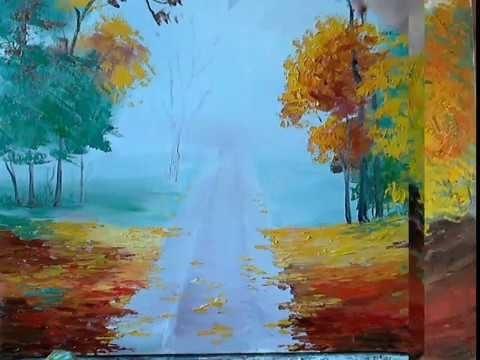 Золотая осень рисунки акварелью 003