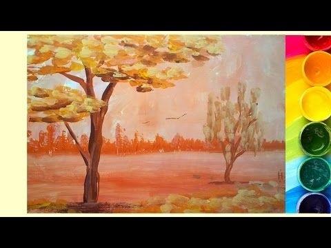 Золотая осень рисунки акварелью 004
