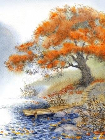 Золотая осень рисунки акварелью 006