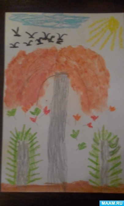 Золотая осень рисунки акварелью 007
