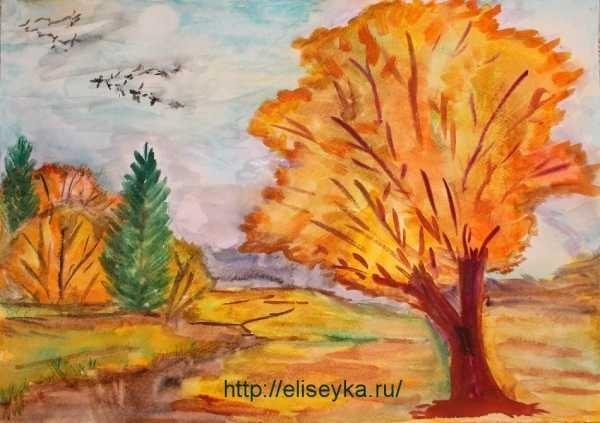 Золотая осень рисунки акварелью 008