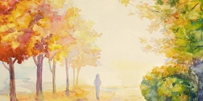 Золотая осень рисунки акварелью 010