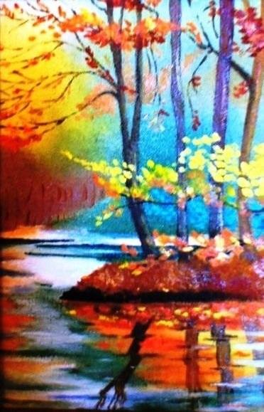 Золотая осень рисунки акварелью 011