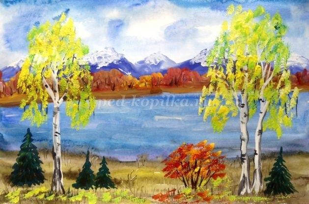 Золотая осень рисунки акварелью 012