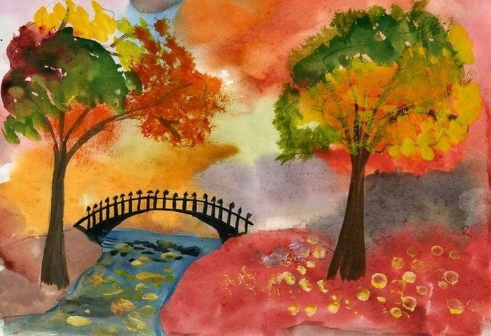 Золотая осень рисунки акварелью 013