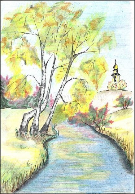 Золотая осень рисунки акварелью 014