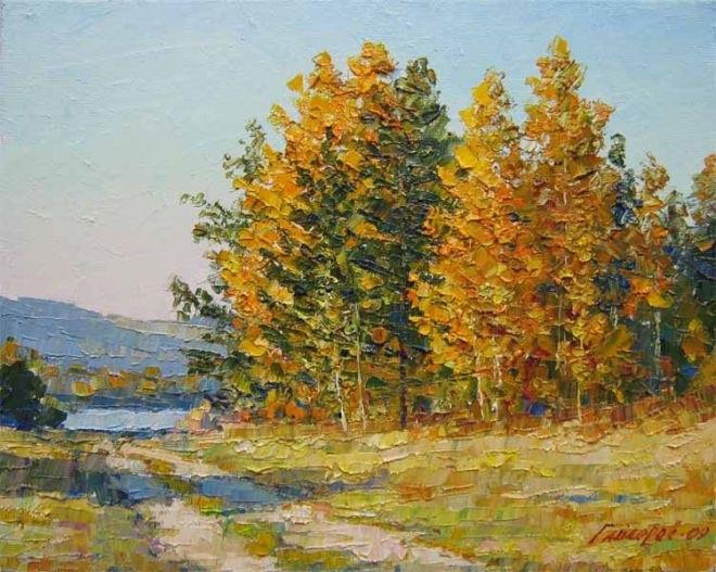 Золотая осень рисунки акварелью 015