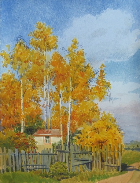 Золотая осень рисунки акварелью 016
