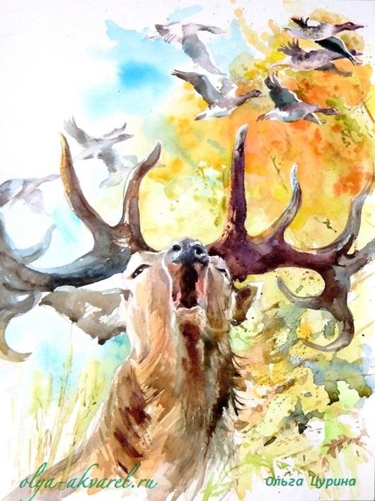 Золотая осень рисунки акварелью 017