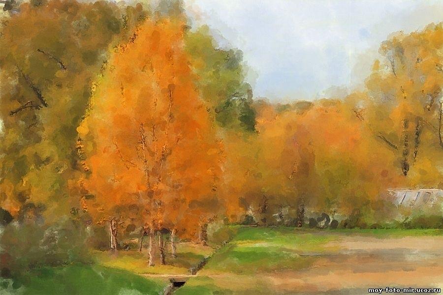Золотая осень рисунки акварелью 019