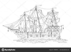 Картинки кораблей черно белые 019