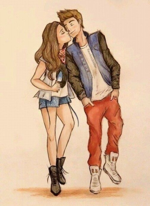 Картинки рисованные пара влюбленных 011