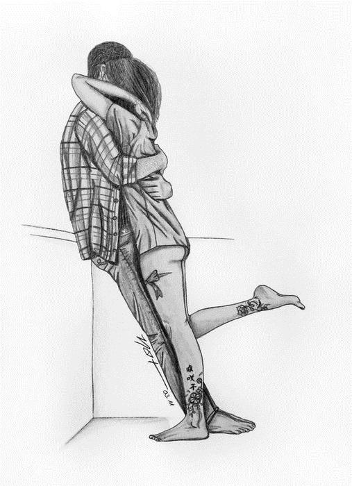 Картинки рисованные пара влюбленных 018