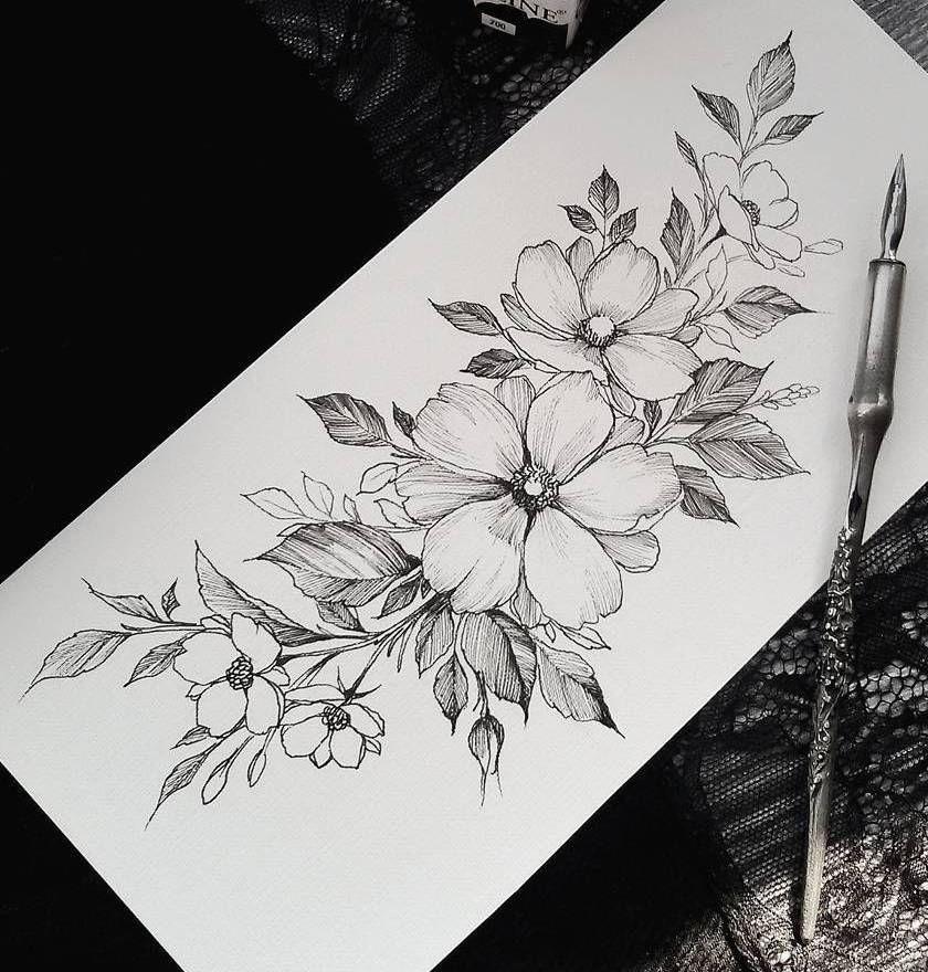 Красивые эскизы тату растений 021