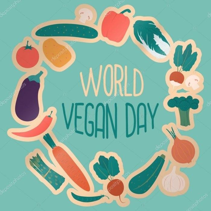 Международный веганский день (World Vegan Day)   красивая открытка 010