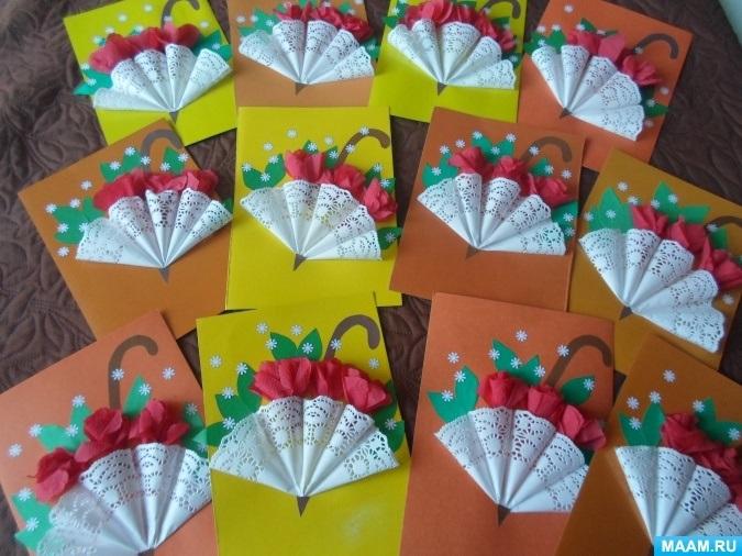Открытка зонтик из салфетки 004