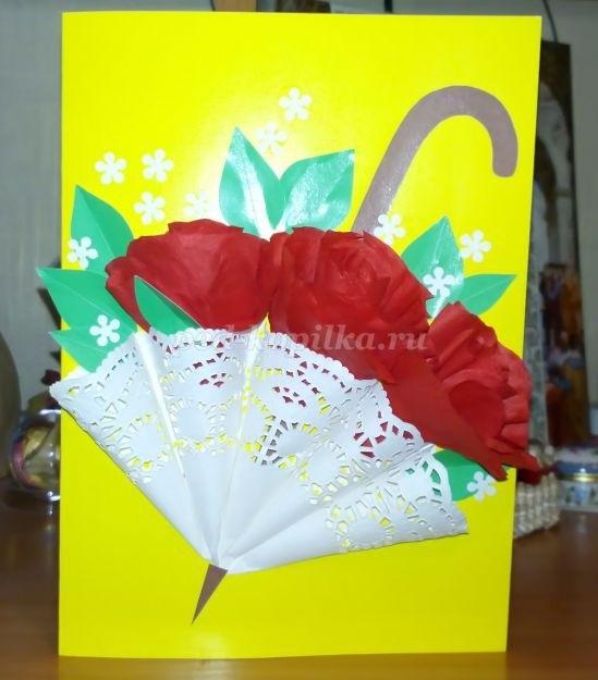 Открытка зонтик из салфетки 015