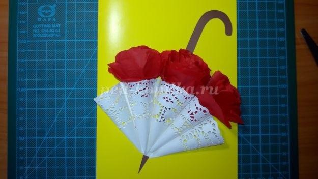 Открытка зонтик из салфетки 018