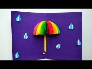 Открытка зонтик из салфетки 024