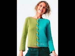 Пуловер спицами в английском стиле 017